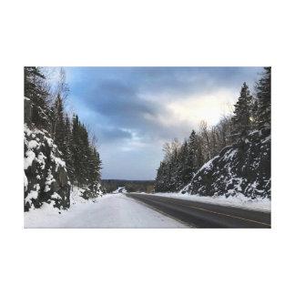 Offene Straße Michigans im Winter auf Leinwand