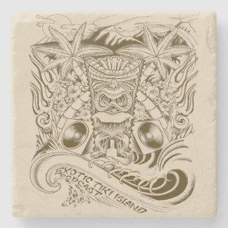 Offizielle exotische Tiki Inselpodcast-Grafik Steinuntersetzer