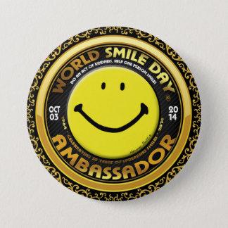 Offizieller Weltlächeln Day® Botschafter 2014 Runder Button 7,6 Cm