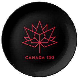 Offizielles Logo Kanadas 150 - Schwarzes und Rot Teller