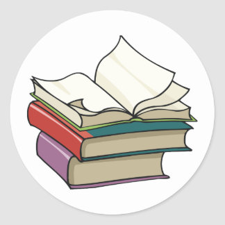 Öffnen Sie Buch-Aufkleber Runder Aufkleber