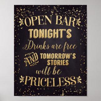 Öffnen Sie das Bar, das Plakat-Schwarzes/Gold Poster