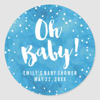 Oh Baby-Blau-Aquarell-Babyparty Runder Aufkleber