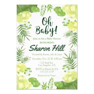 Oh Baby! Grüne tropische mit BlumenBabyparty laden Karte