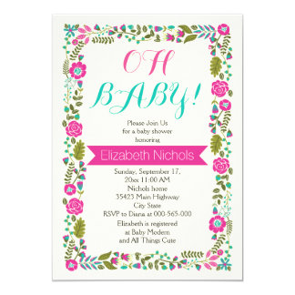 Oh Babypartyaqua, rosa moderne Blumengrenze 12,7 X 17,8 Cm Einladungskarte