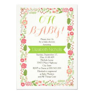 Oh Babypartykorallenrote rosa reizende 12,7 X 17,8 Cm Einladungskarte