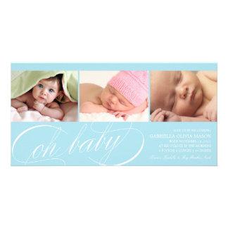 Oh blaue Geburts-Mitteilung des Baby-| Karte