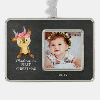 Oh Foto-Verzierung des Rotwild-Mädchen-Babys 1. Rahmen-Ornament Silber