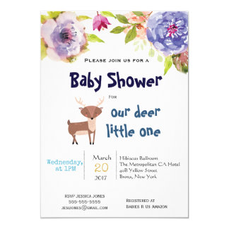Oh invitation de baby shower de cerfs communs