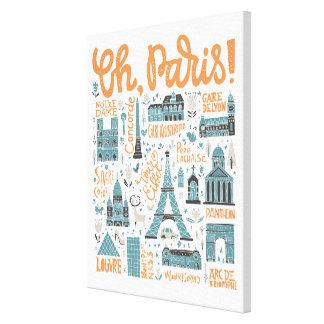 Oh, Paris!   Stadttypographie Leinwanddruck