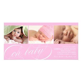 Oh rosa Geburts-Mitteilung des Baby-| Individuelle Foto Karten