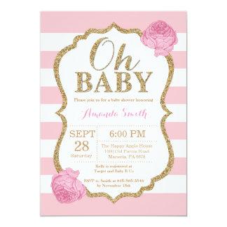 Oh roses pâles et invitation de baby shower d'or