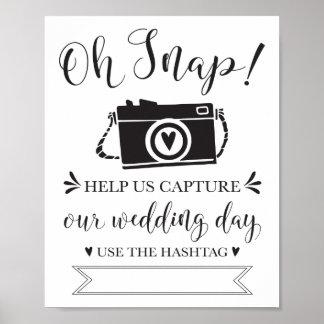 Oh Wedding Hashtag Schnellzeichen Poster
