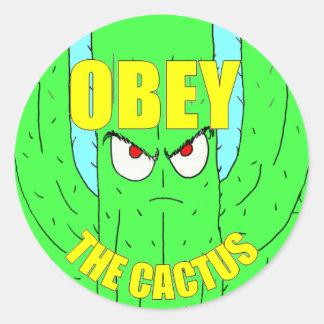 Ohbey der Kaktus-runde Aufkleber