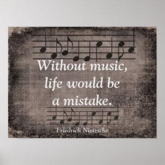 Ohne Musik - Zitat Friedrich Nietzsche - Druck Poster