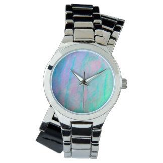 Ohrschnecken-Muschelwatercolor-Perlmutt-Stein Uhr