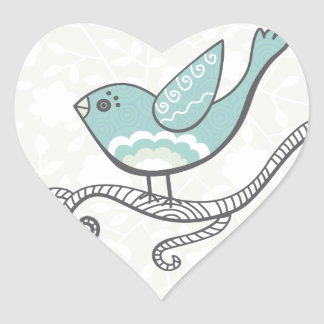 Oiseau Autocollant En Cœur