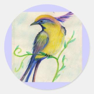 oiseau de fleur autocollants ronds