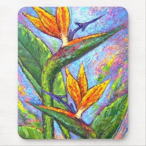 Oiseau de la peinture tropicale de fleur de paradi tapis de souris