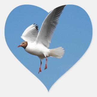 Oiseau de mouette autocollants en cœur
