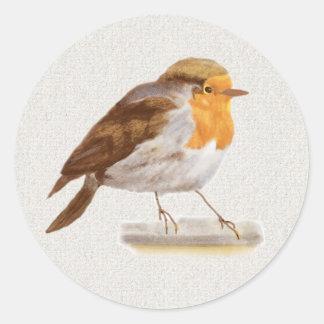 Oiseau d'hiver adhésif rond
