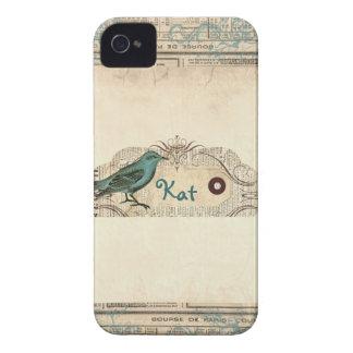 Oiseau français vintage Blackberry de journal auda Étui iPhone 4