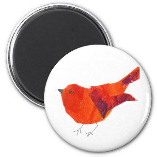Oiseau rouge mignon magnet rond 8 cm