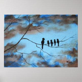 Oiseaux dans l'arbre dans l'art abstrait du jour poster