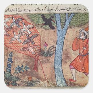 Oiseaux de chasse, 'du livre de Kalila et Autocollant Carré