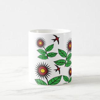 oiseaux et fleurs mug blanc