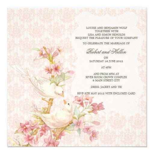 Oiseaux romantiques vintages dans le mariage d'amo faire-part