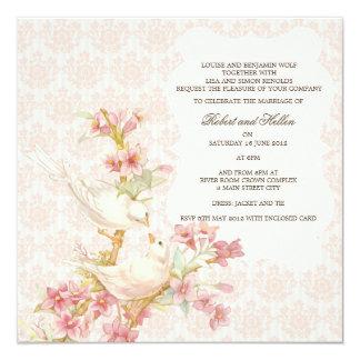 Oiseaux romantiques vintages dans le mariage carton d'invitation  13,33 cm