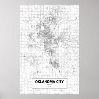 Oklahoma City, Oklahoma (Schwarzes auf Weiß) Poster