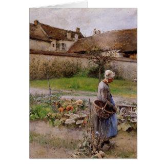 Oktober mit Frau in ihrem Garten Karte