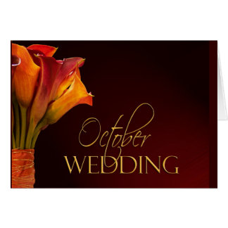 Oktobercallalilien-Hochzeitsentwurf Karte