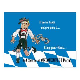 Oktoberfest blaue Party Einladungs-Postkarte Postkarte