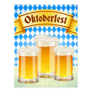 Oktoberfest Gruß-Karte mit Bier Postkarten