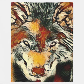 Öl-wilde Wolf-Tier-Natur-Pastellgrafik Fleecedecke