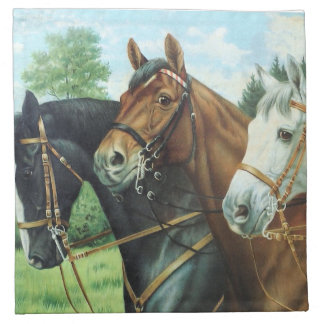 Old German Horse Oil Painting Portrait from 1924 Serviette