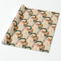 Old World Victorian Santa Claus and Child Gift Wrap Paper