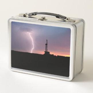 Ölfeld-Blitz-lila Sonnenaufgang Metall Brotdose