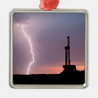 Ölfeld-Blitz-lila Sonnenaufgang Silbernes Ornament