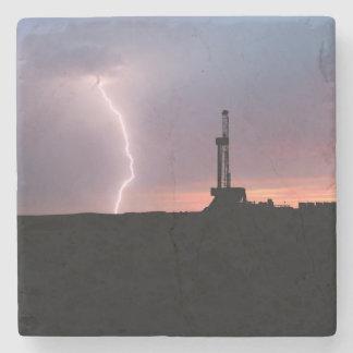 Ölfeld-Blitz-lila Sonnenaufgang Steinuntersetzer