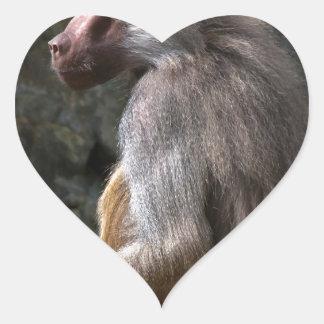 Olive Baboon Herz-Aufkleber