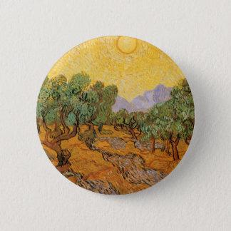 Olivenbäume, gelber Himmel und Sun, Vincent van Runder Button 5,7 Cm