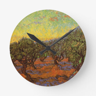 Olivenhain-orange Himmel Van Gogh, Vintage feine Runde Wanduhr