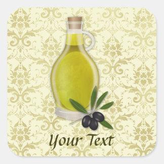 Olivenöl-Flaschen-und Damast-Muster Quadratischer Aufkleber