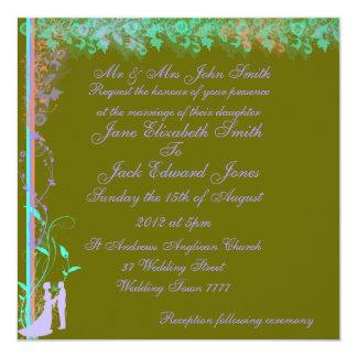 Olivgrün-Frühlings-Garten-Hochzeits-Einladungen Quadratische 13,3 Cm Einladungskarte
