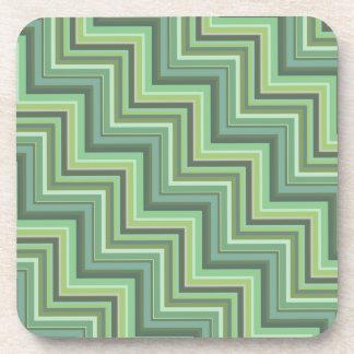 Olivgrün stripes Treppenmuster Getränkeuntersetzer