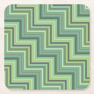 Olivgrün stripes Treppenmuster Rechteckiger Pappuntersetzer
